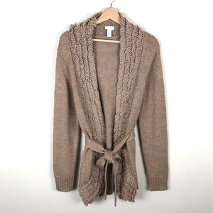 Chico's Tan Ruffle Knitted Front Open Cardigan - 2